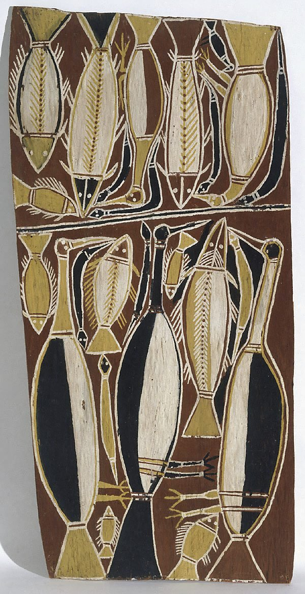 An image of Bark painting (Birds, fish and snakes)