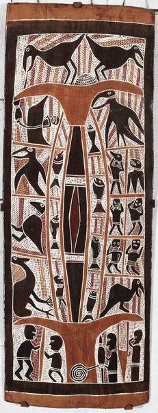 An image of Figures, birds, fish by Narritjin Maymuru