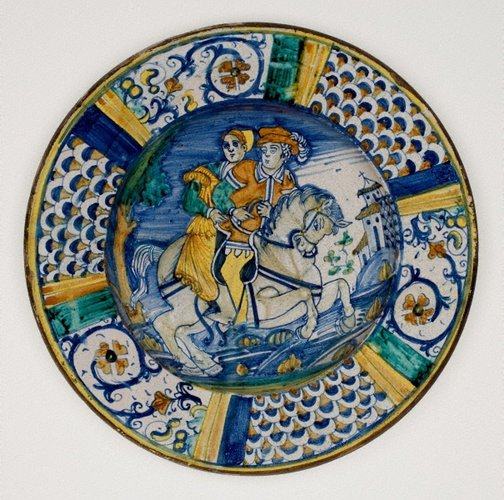 An image of Large plate: Figures on horseback by Unknown