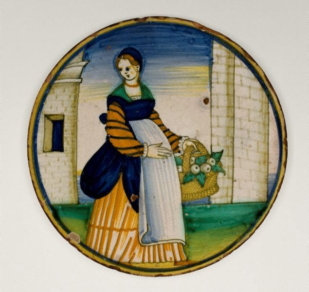 An image of Plate: Woman with a basket of fruit