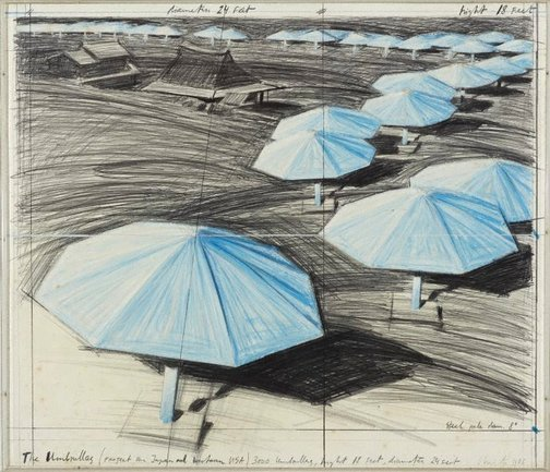 An image of The Umbrellas, Project for Japan and Western USA by Christo