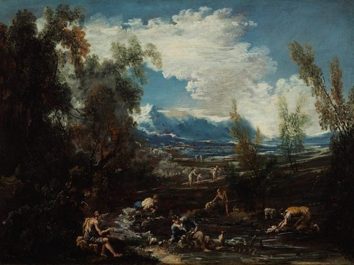 An image of Landscape with villagers and laundresses by Alessandro Magnasco