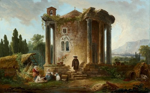 An image of Landscape with temple by Hubert Robert