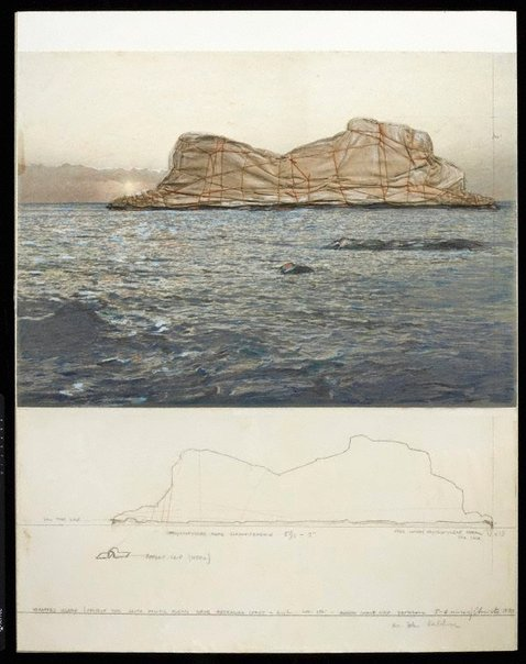 An image of Wrapped Island, Project for South Pacific Ocean by Christo