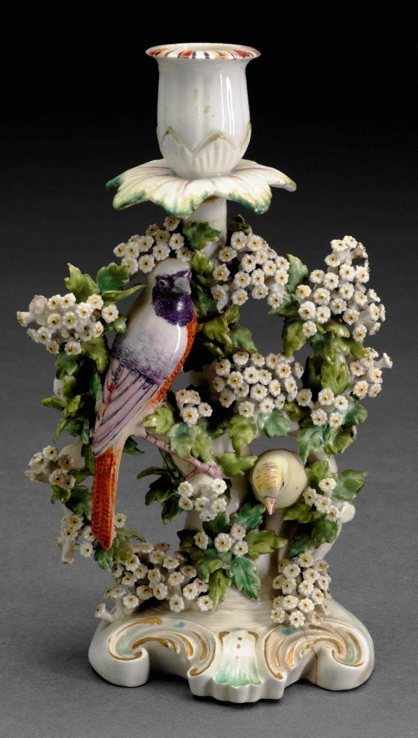 An image of Birds in branches' candlestick [one of a pair]