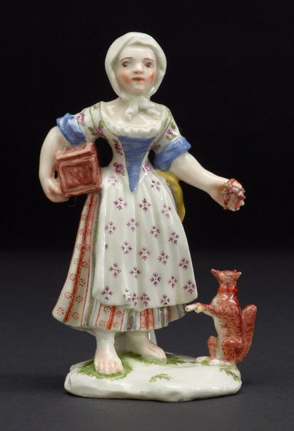 An image of Girl with squirrel by Strasbourg porcelain factory