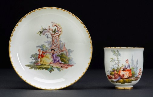 An image of Cup and saucer by Frankenthal