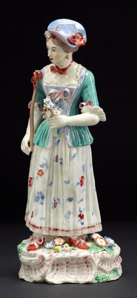 An image of Shepherdess holding a posy by Bristol porcelain factory