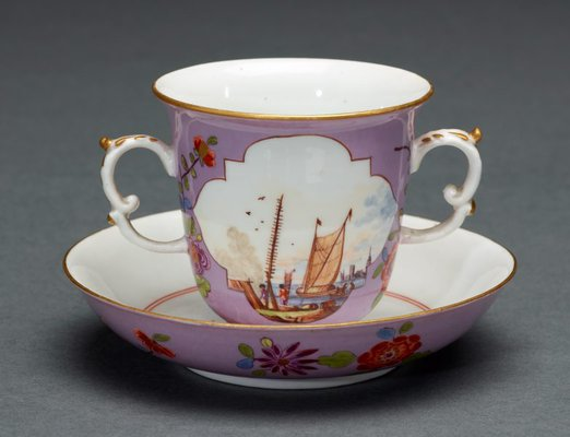 Alternate image of Two handled beaker and saucer by Meissen