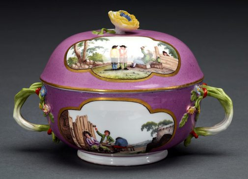 An image of Two handled soup bowl and cover by Meissen