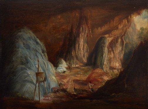An image of Stalagmites, Burragalong Cavern by Conrad Martens