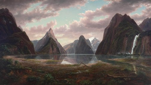 An image of Milford Sound, New Zealand by Eugene von Guérard