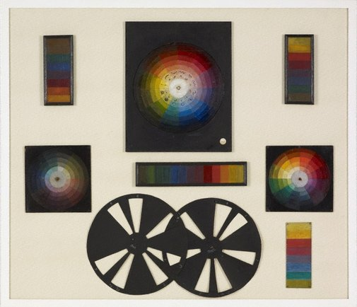 An image of (A set of colour discs, scales, wheels) by Roy de Maistre