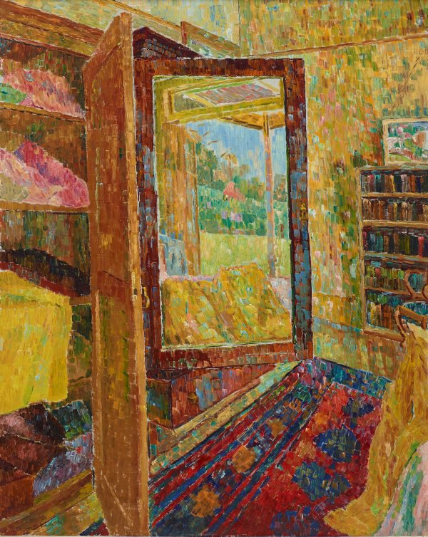 Interior with wardrobe mirror, (1955) by Grace Cossington Smith