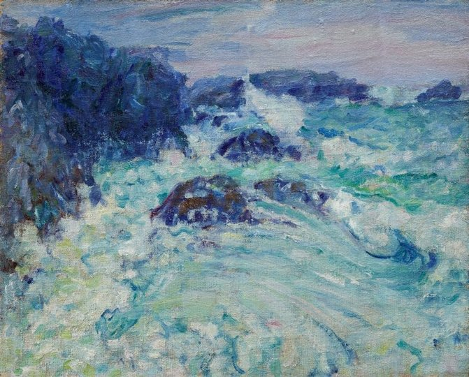 AGNSW collection John Russell Rough sea, Morestil (circa 1900) OA14.1968