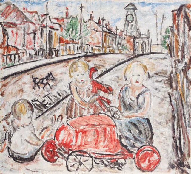Fitzroy street scene, (1937) by Danila Vassilieff