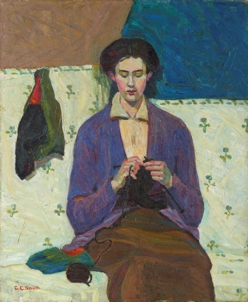 An image of The sock knitter by Grace Cossington Smith