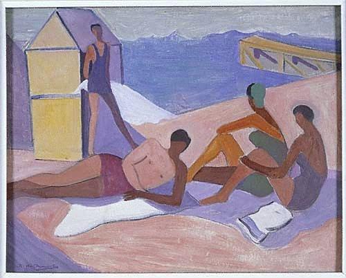 An image of Figures bathing
