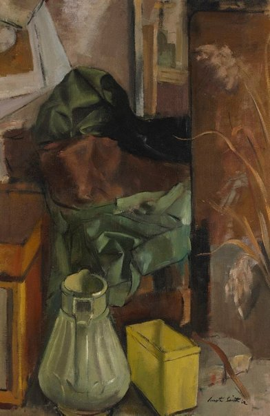 An image of Arrangement in green and brown by Jack Carington Smith