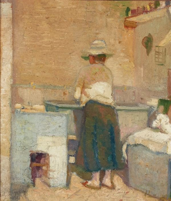 An image of Woman at a washtub