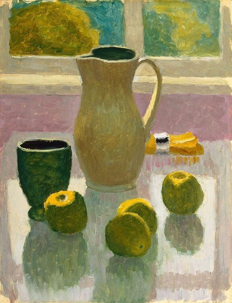 An image of Still life with jug and apples by Roland Wakelin