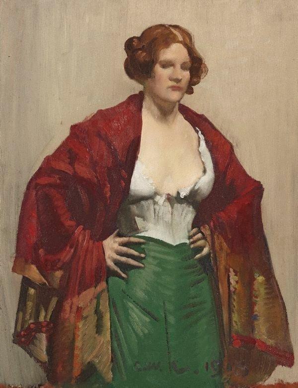 The dark red shawl, (1913) by George W Lambert