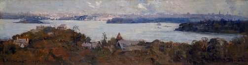 "An image of The harbor, from ""Penshurst,"" Neutral Bay by Arthur Streeton"