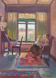 (Interior with mother and child, Exeter, NSW), (1916) by Roy de Maistre