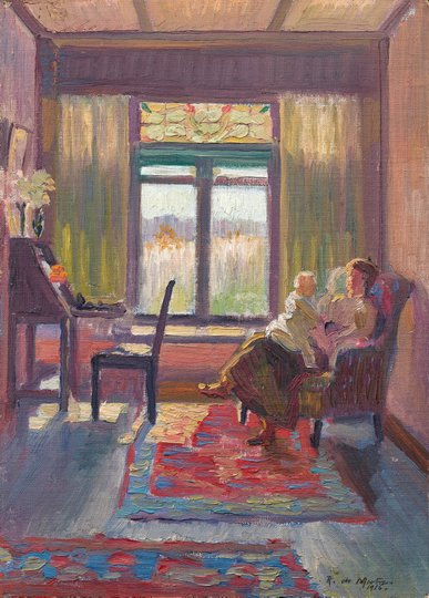 AGNSW collection Roy de Maistre (Interior with mother and child, Exeter, NSW) (1916) OA40.1960