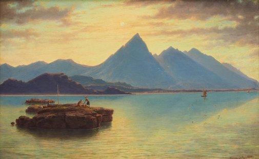 An image of Jebel Cherib by Eugene von Guérard