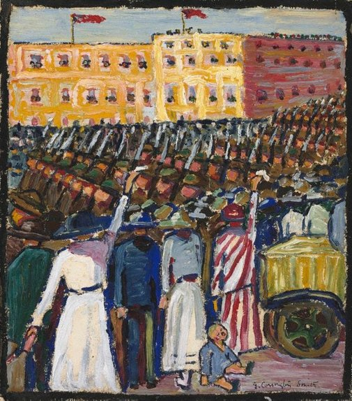 An image of Reinforcements: troops marching by Grace Cossington Smith