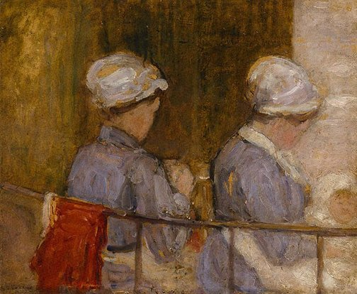 An image of Nursemaids in the Luxembourg Gardens by Kathleen O'Connor