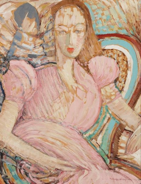 An image of Girl in pink by Ralph Balson