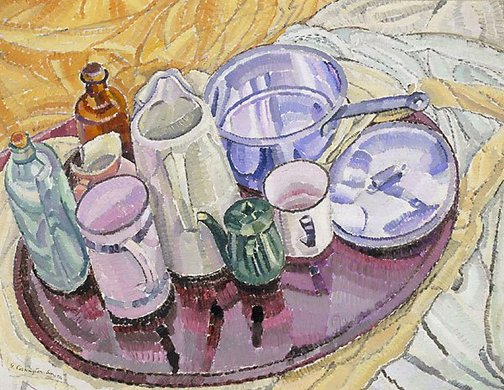An image of Things on an iron tray on the floor by Grace Cossington Smith