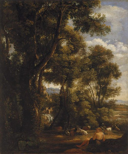 An image of Landscape with a goatherd and goats (after Claude) by John Constable