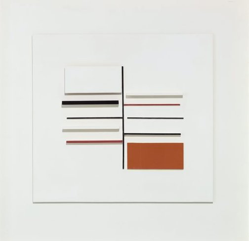 An image of Relief construction in white, black, maroon and ochre by Victor Pasmore