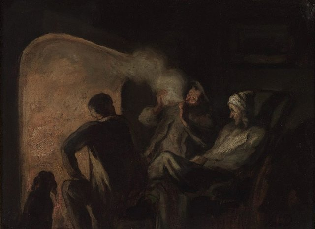 An image of Hunters by the fireside