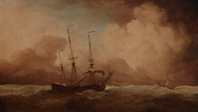 An image of English ships running before a gale