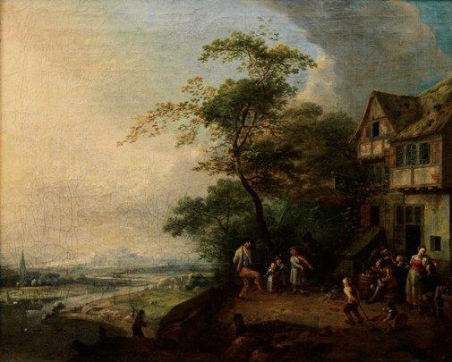 An image of Scene before an inn by Gillis de Winter