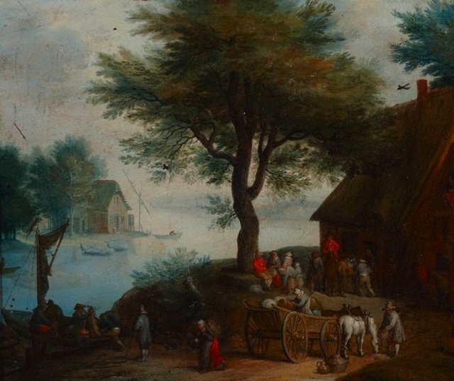 An image of Landscape with peasant at a river crossing