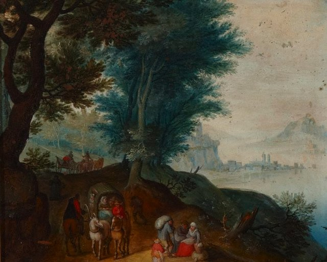 An image of Landscape with travellers and a distant view of a city by a lake