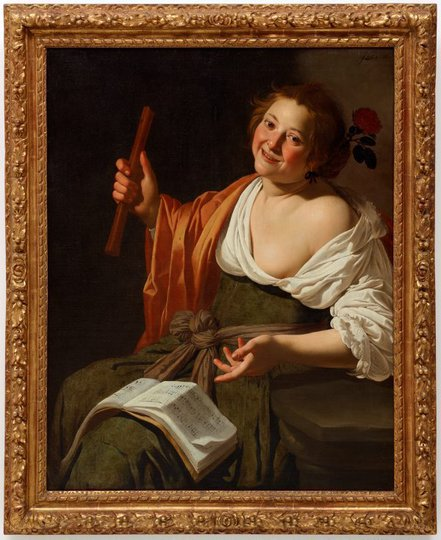 AGNSW collection Jan van Bijlert Girl with a flute (circa 1630) OO3.1967