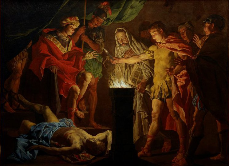 AGNSW collection Matthias Stomer Mucius Scaevola in the presence of Lars Porsenna (early 1640s) OO4.1970