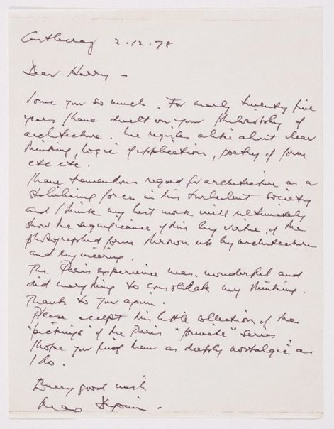 An image of Untitled (personal, handwritten letter to Harry Seidler from Max Dupain, dated 2.12.1978) by Max Dupain