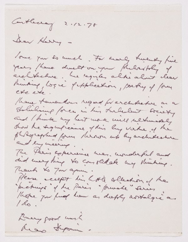 An image of Untitled (personal, handwritten letter to Harry Seidler from Max Dupain, dated 2.12.1978)