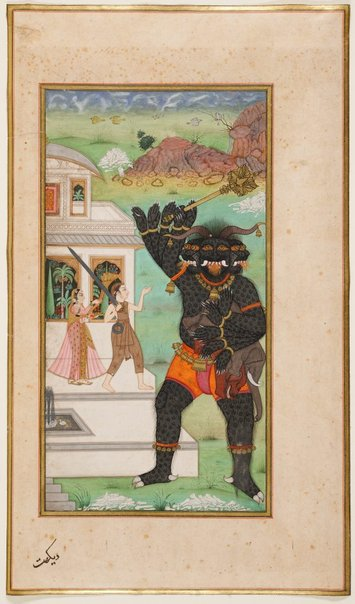 An image of Prince Manohar protects the Princess Champavati and confronts the demon by