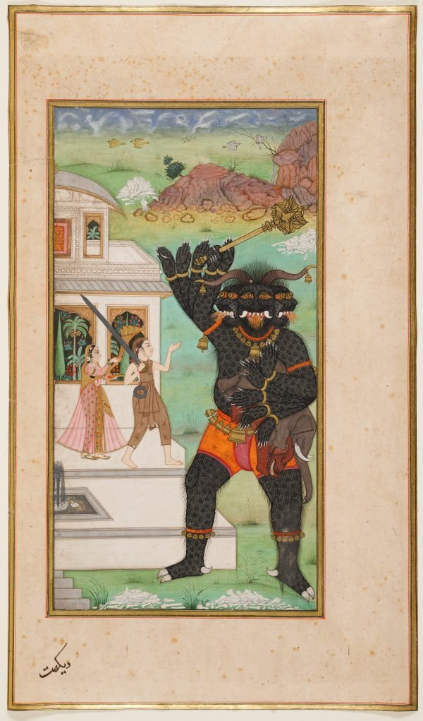 An image of Prince Manohar protects the Princess Champavati and confronts the demon