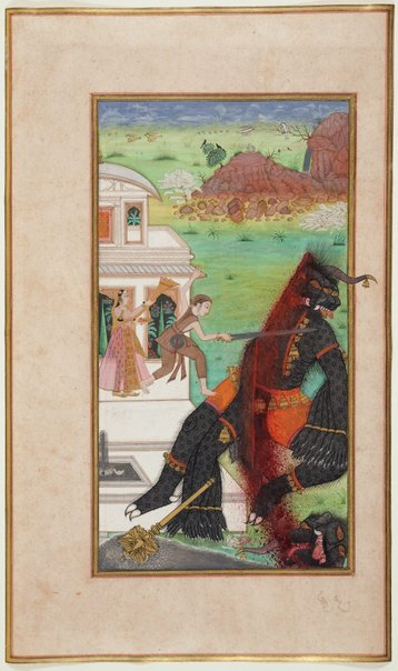 An image of Prince Manohar cuts off part of the demon's head by