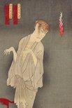 Alternate image of Onoe Kikugoro V as the ghost of Saijiro, Bando Kakitsu as Kanbara Mikinosuke and Onoe Matsukuke as Nakama Gonbee in the play 'The Inaba Apprentice (Inaba ama-yobanashi)' by Toyohara Kunichika
