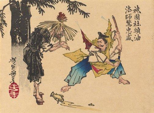 An image of Tadamori and the oil thief by Tsukioka Yoshitoshi